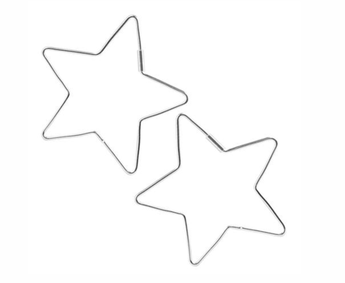 Cut Out Star Hoops Sterling Silver