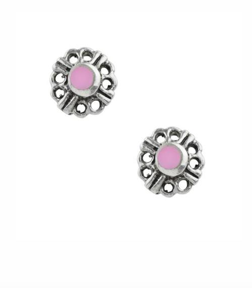 Pink Yarrow Flower Stud Sterling Silver