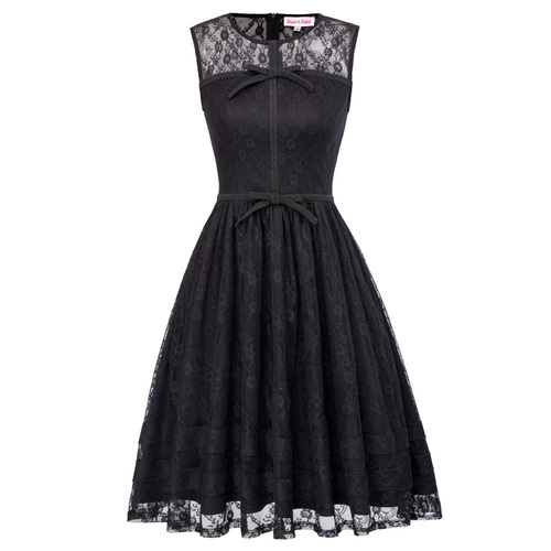 Henrietta Dress in Black Lace