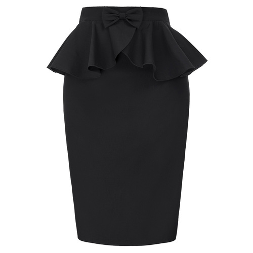 Constance Peplum Skirt in Black or Red