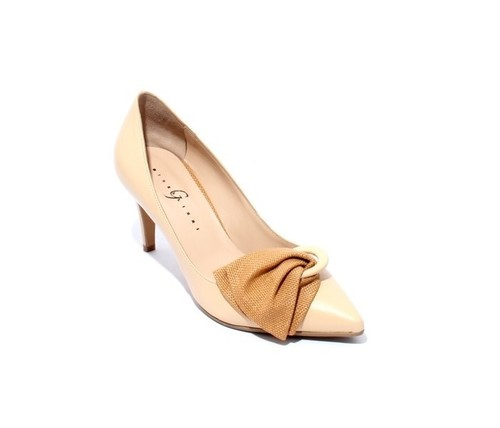 Beige Leather Pointy Toe Bow Heel Pumps