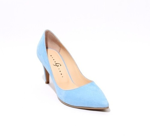 Sky Blue Suede Pointy Pumps