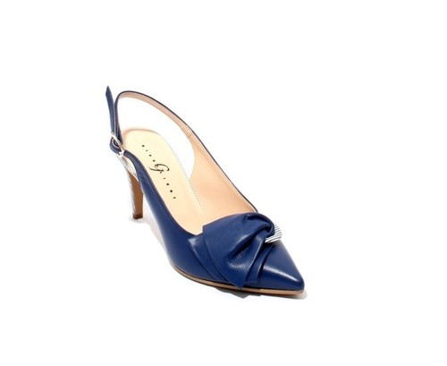 Navy / White Leather Pointy Slingback Heel Sandals