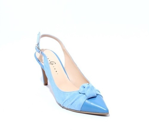 Blue Suede / Leather Pointy Slingback Heel Sandals