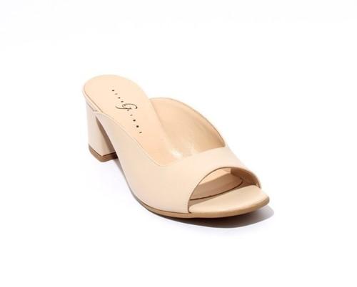 Beige Leather Open Toe Slide Heel Sandals