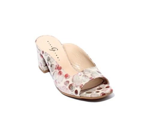 Multi-Color Suede Open Toe Slide Heel Sandals