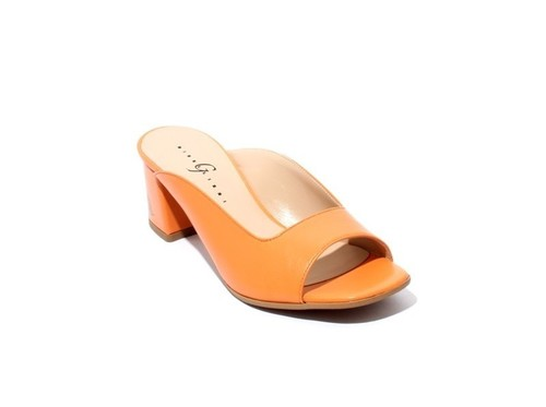 Orange Leather Open Toe Slide Heel Sandals