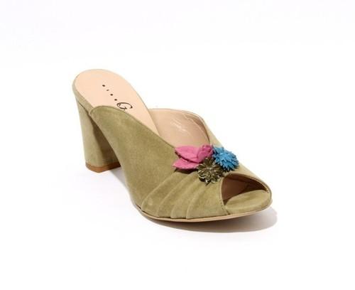Khaki Green Suede Open Toe Flower Slide Sandals