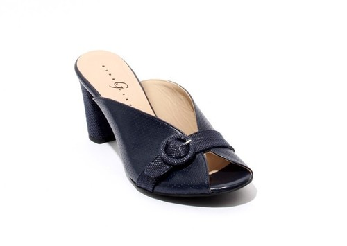 Navy Perforated Leather Open Toe Slide Sandals