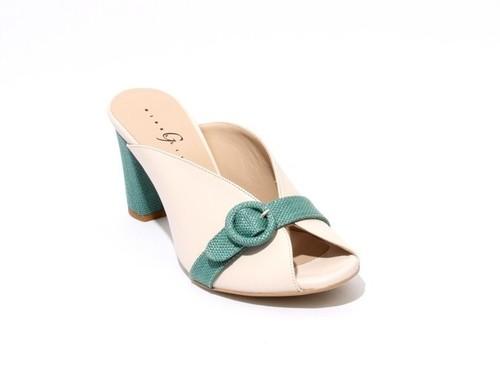 Light Beige / Green Leather Open Toe Slide Sandals