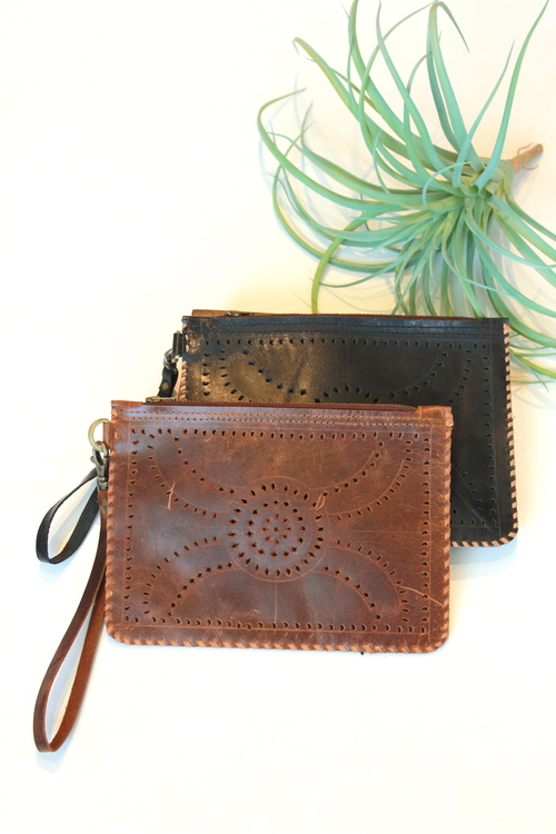 Leather Punch Wristlet