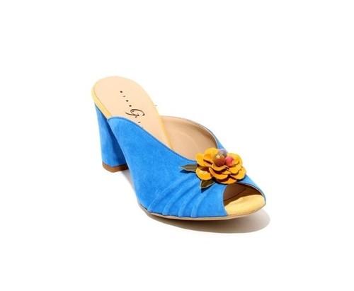 Navy / Yellow Suede Open Toe Slide Sandals