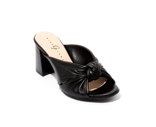 Black Perforated Leather Open Toe Slide Sandals
