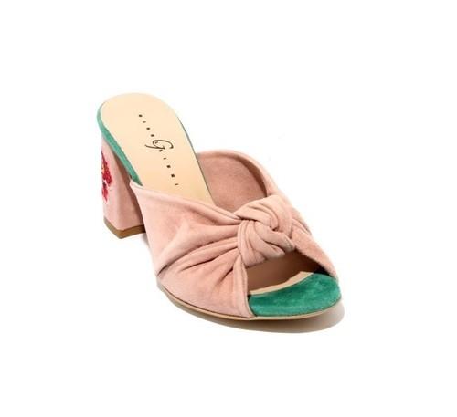 Blush / Green Suede Open Toe Flower Slide Sandals