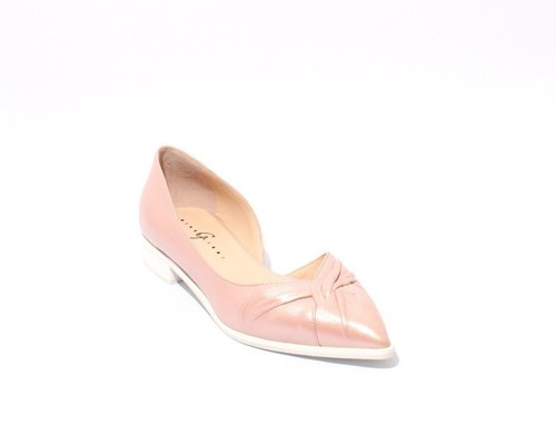 Metallic Blush Leather Pointed Toe Flats Shoes