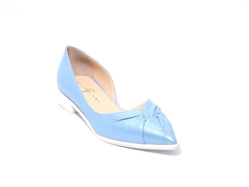 Metallic Blue Leather Pointed Toe Flats Shoes