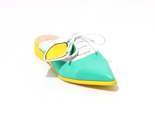 Green / White / Yellow Leather Lace Pointed Toe Mules