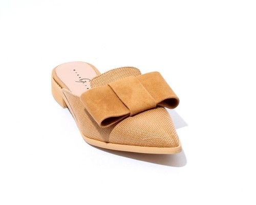 Light Brown Fabric Suede Pointed Toe Bow Shoe Mules