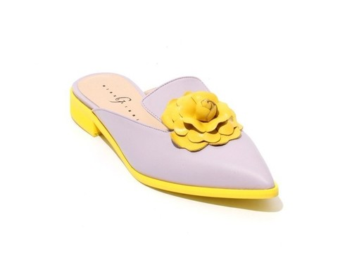 Lilac / Yellow Leather Pointed Toe Shoes Mules