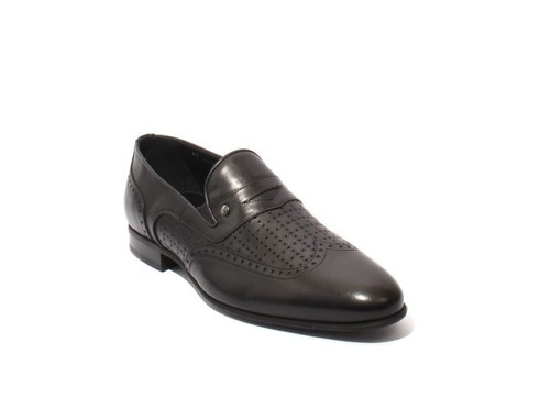 Black Leather Slip On Oxfords Shoes