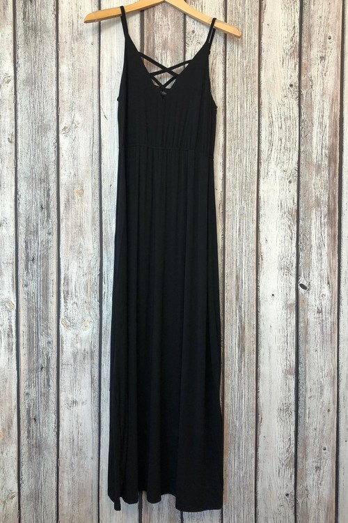 Criss Cross Neck Maxi Dress Black