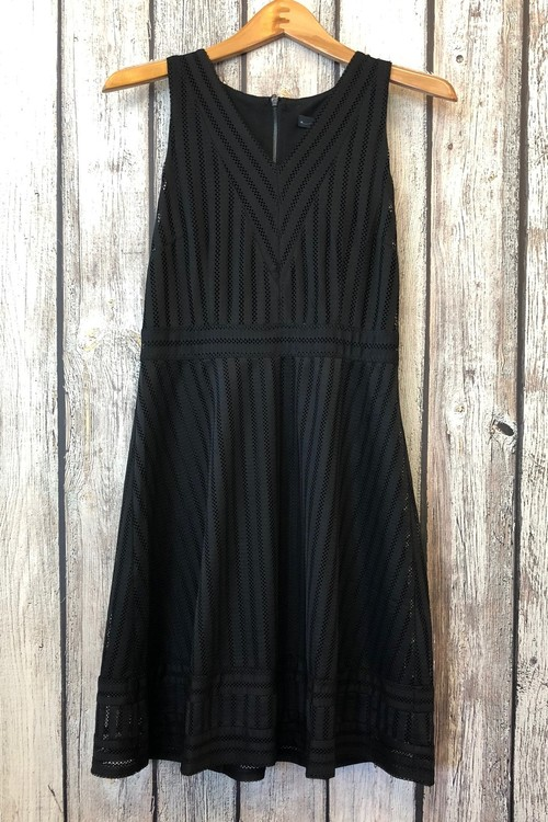 V-Neck Striped Mesh Dress Black