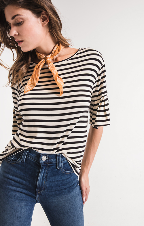 The Striped Ruffle Tee Pearl/Black