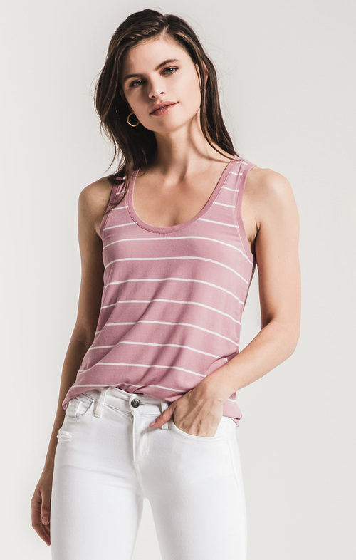 The Pencil Striped Jersey Tank Lilac