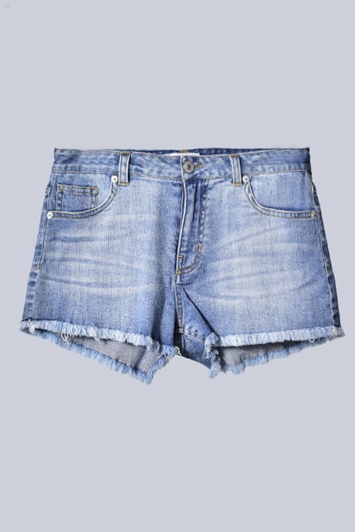 Fringe Bottom Jean Shorts
