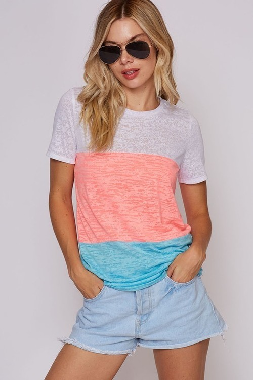 Neon Color Block Burnout Tee
