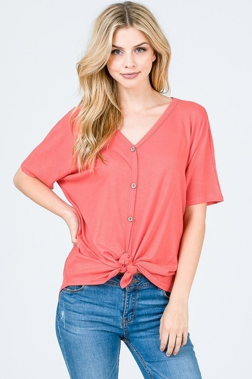 Waffle Coral Tie Front Top