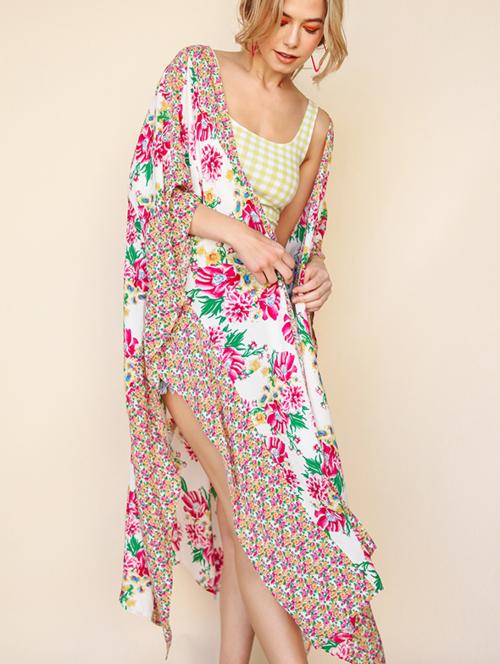 Floral Print Long Kimono With Side Slits