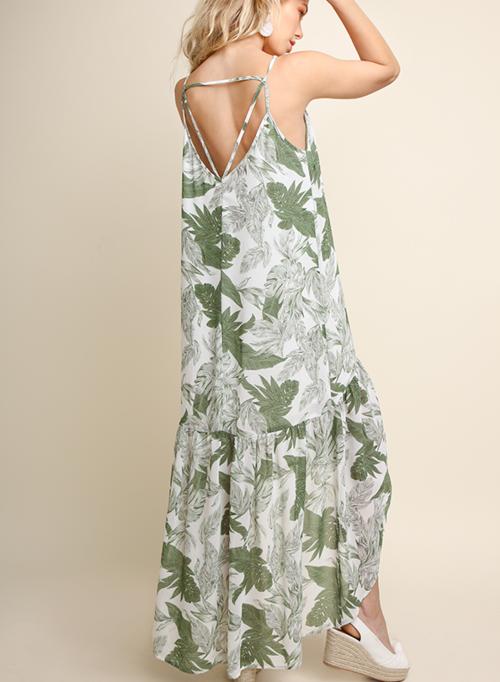 Tropical Leaf Print Sheer Maxi Dress