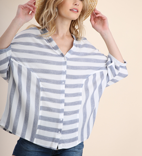 Striped 3/4 Button Up Top