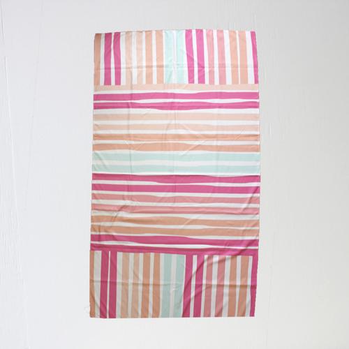 Caribbean Stripe Giant Beach Towel- Pink