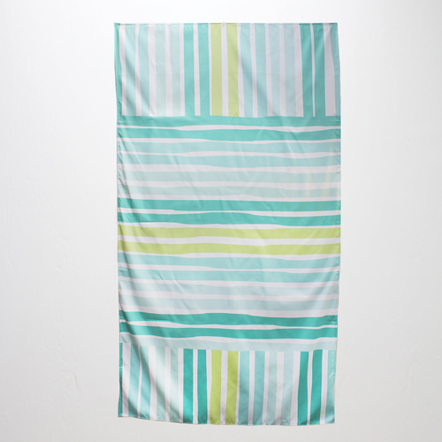 Caribbean Stripe Giant Beach Towel- Aqua