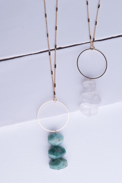 Circle Triple Stone Drop Long Necklace