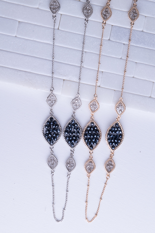 Marquis Beaded Long Necklace