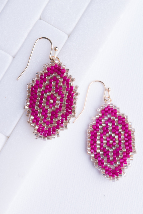 Pink & Gold Aztec Seed Bead Dangle