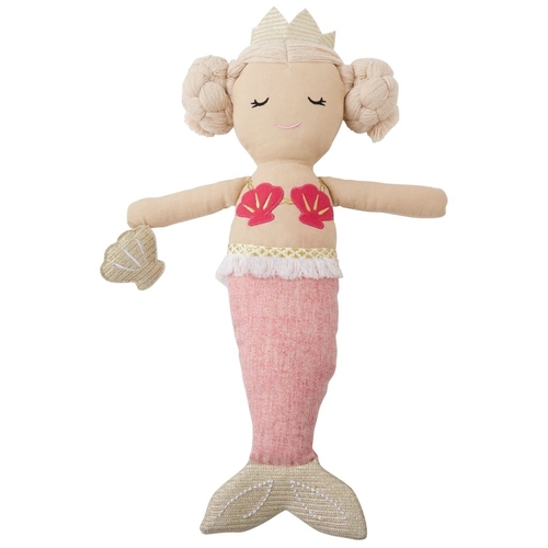 Linen Mermaid Doll Light Pink Tail