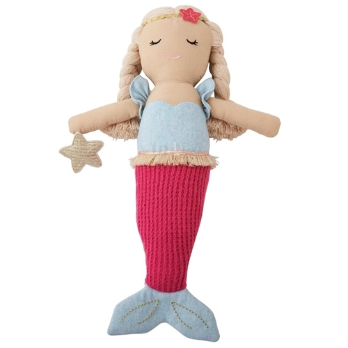 Linen Mermaid Doll Hot Pink Tail