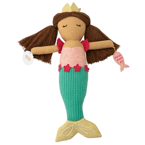 Linen Mermaid Doll Blue Tail