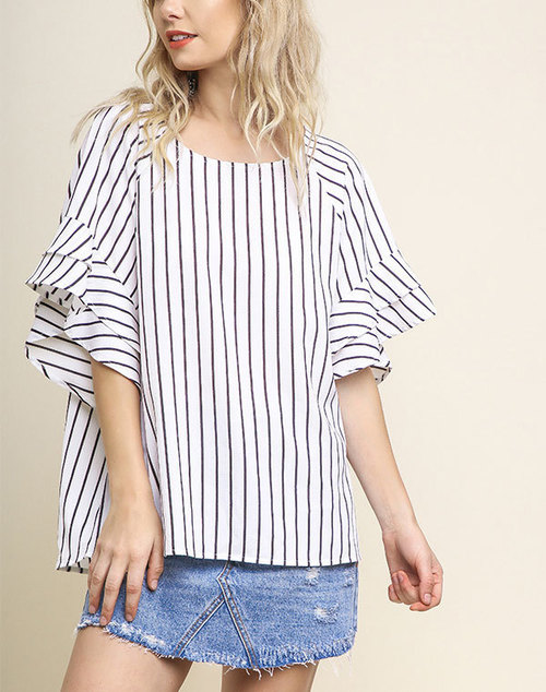 Striped Layered Ruffle Short Sleeve Top