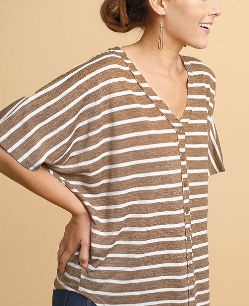 Striped Short Sleeve V - Neck Button Front Top