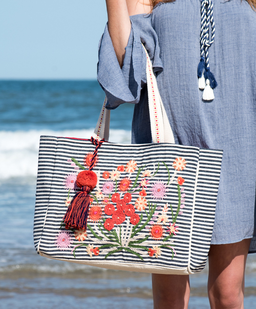 Striped Flower Embroidered Tote Bag
