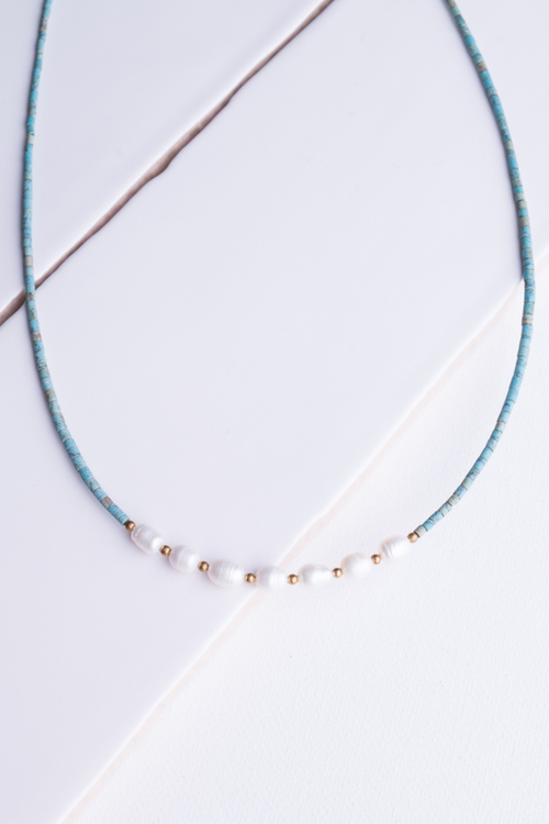 Turquoise Bead Pearl Short Necklace