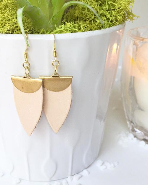 Jillian Made Blush Spade Earrings