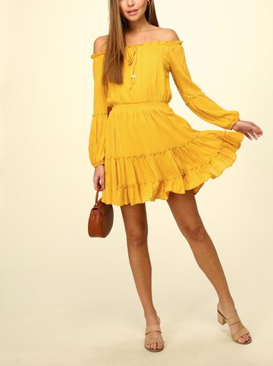 Long Sleeve Woven Off The Shoulder Dress