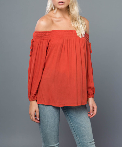 Off The Shoulder Top With Ties On Sleeve