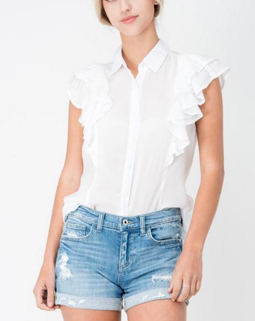 Button Up Sleeveless Shirt W/ Ruffle